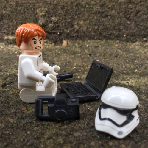 First order stormtrooper on laptop